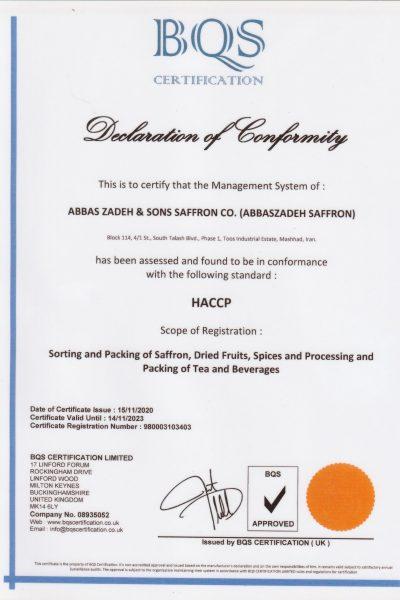 abbaszadeh saffron Certificate haccp