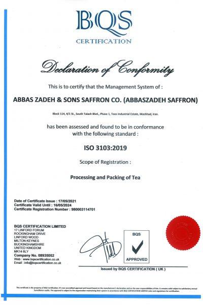 abbaszadeh saffron Certificate