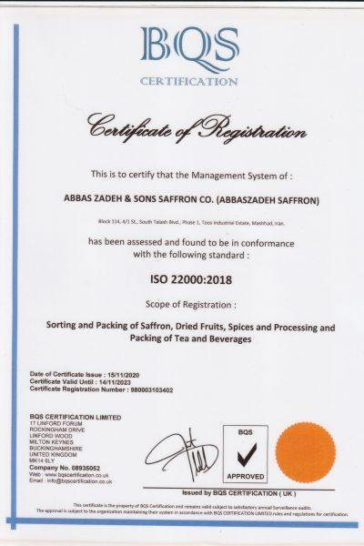 abbaszadeh saffron Certificate 2018