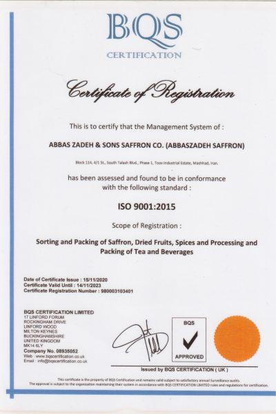 abbaszadeh saffron Certificate iso2015